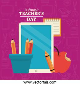 happy teachers day card with tablet elearning and pencils holders