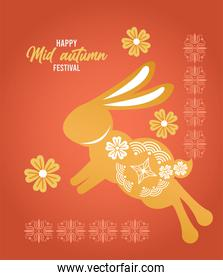 happy mid autumn lettering card with rabbit and flowers