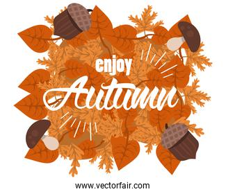 enjoy autumn lettering with leafs and nuts poster
