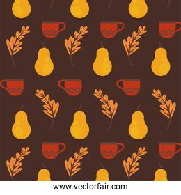 enjoy autumn poster with dry fruits and leafs pattern