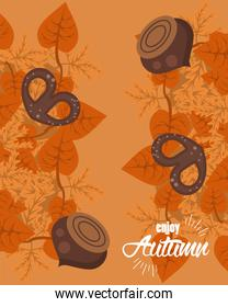 enjoy autumn lettering with leafs and nuts card