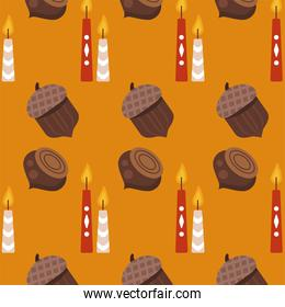 enjoy autumn poster with nuts and candles pattern