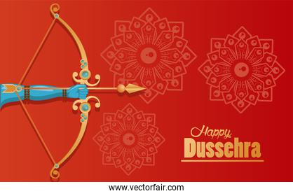 happy dussehra celebration card with hand and arch