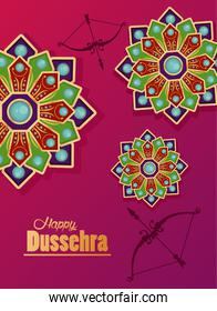 happy dussehra celebration card with archs and mandalas
