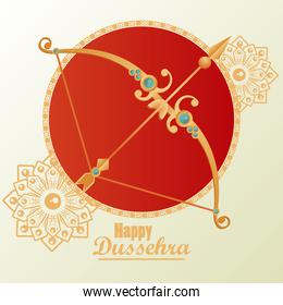 happy dussehra celebration card with golden arch and lettering