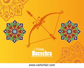 happy dussehra celebration card with arch and mandalas