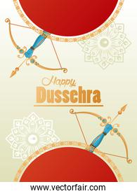 happy dussehra celebration card with archs and letterings