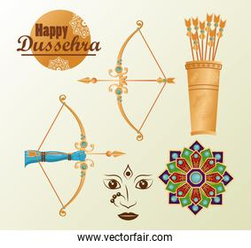 happy dussehra celebration card with lettering abd set icons