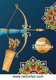 happy dussehra celebration card with arch and arrows in bag
