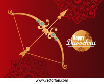 happy dussehra celebration card with golden arch
