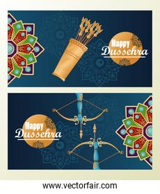 happy dussehra celebration card with mandalas and arrows in blue background