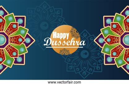 happy dussehra celebration card with mandalas in blue background
