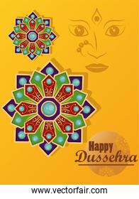 happy dussehra celebration card with goddess face and mandalas in yellow background