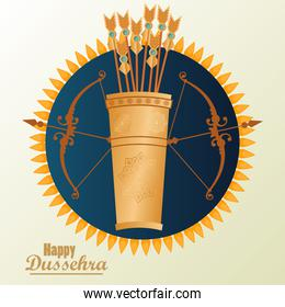 happy dussehra celebration card with archs and arrows bag