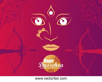happy dussehra celebration card with goddess face and archs