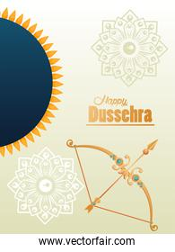 happy dussehra celebration card with golden arch and arrow