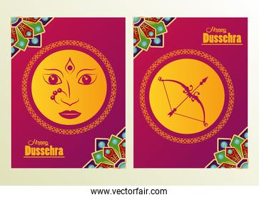 happy dussehra celebration card with goddess face and arch frames
