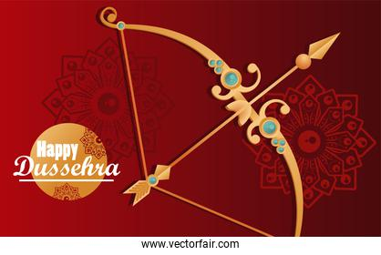 happy dussehra celebration card with arch and lettering in red background