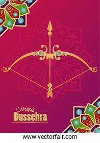 happy dussehra celebration card with arch and mandala