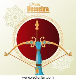happy dussehra celebration card with hand and golden arch