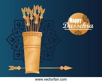 happy dussehra celebration card with arrows bag and lettering