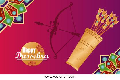 happy dussehra celebration card with arch and arrows bag in purple background