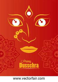 happy dussehra celebration card with goddess face and mandalas in red background