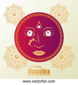happy dussehra celebration card with goddess face and mandalas