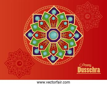 happy dussehra celebration card with mandalas in red background