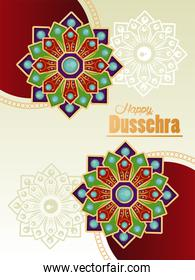 happy dussehra celebration card with mandalas and lettering