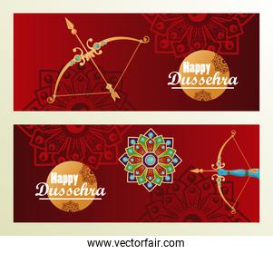 happy dussehra celebration card with archs and mandala in red background
