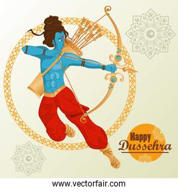 happy dussehra celebration card with blue rama character and mandalas