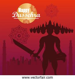 happy dussehra celebration card with ravana shadow and lettering