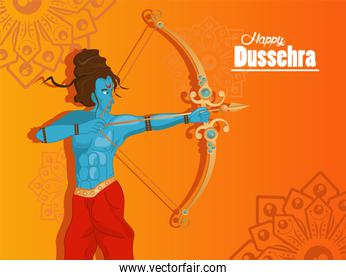 happy dussehra celebration card with blue rama character in orange background