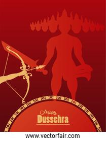 happy dussehra celebration card with ravana shadow and arch