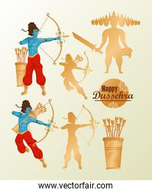 happy dussehra celebration card with set icons