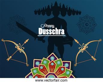 happy dussehra celebration card with ravana shadow and archs