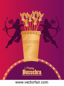 happy dussehra celebration card with gods ramma shadows and arrows bag