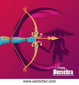 happy dussehra celebration card with hand and arch with ravana