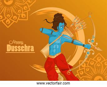 happy dussehra celebration card with blue rama in yellow background