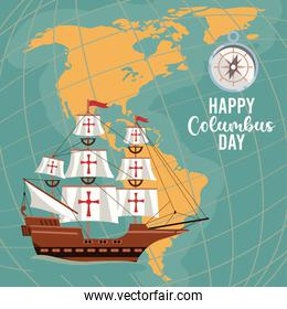 happy columbus day celebration with ship and american continents maps