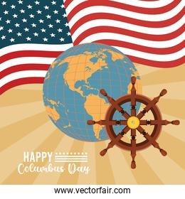 happy columbus day celebration with ship rudder and usa flag