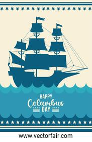 happy columbus day celebration with ship and lettering