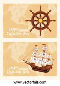 happy columbus day celebration with ship rudder and caravel
