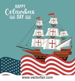 happy columbus day celebration with ship and usa flag