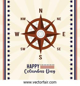 happy columbus day celebration with compass guide and lettering
