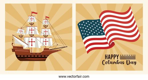 happy columbus day celebration with usa flag and ship