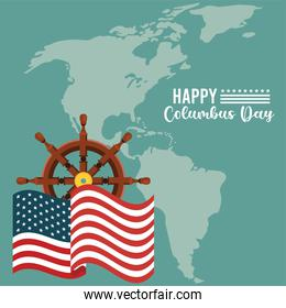 happy columbus day celebration with ship rudder and american continent map