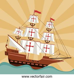 happy columbus day celebration with ship and ocean scene