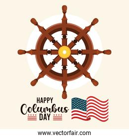 happy columbus day celebration with ship rudder and lettering